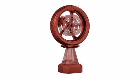 podium : Front View of Motorbike Bronze Wheel Trophy in Infinite Rotation