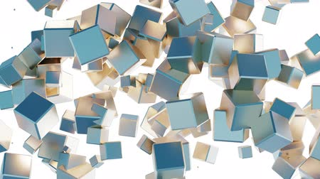 nepořádek : Mess of many golden and blue flying cubes which disappear