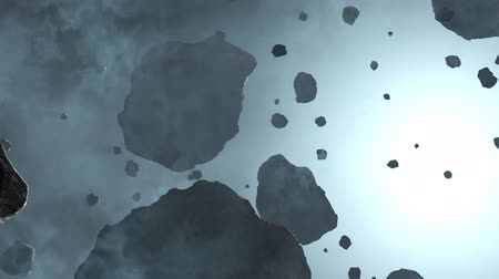 meteorite : Slow Flying between many Asteroid rocks inside a light blue fog