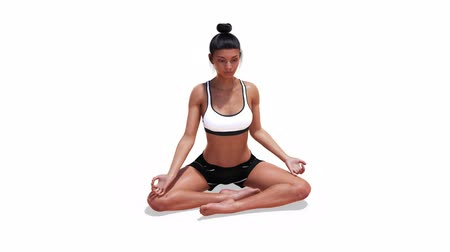 Woman in a Yoga Easy Pose in Rotation with a White Background