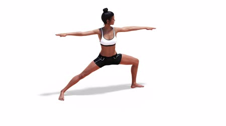 za : 3D Woman in a Warrior Yoga 2 Pose in Rotation with a White Background