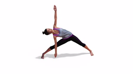 za : 3D Woman in a Yoga Triangle Pose in Rotation with a White Background