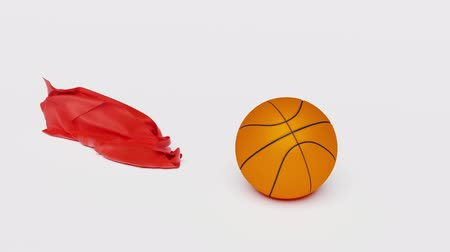 Red fabric piece of basketball and discovering it