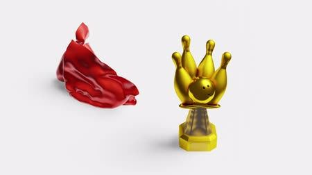 crumpled : Red shiny fabric piece of hidden Bowling Gold Trophy and discovering it Stock Footage
