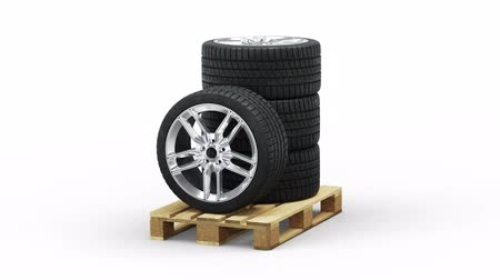 отправка : Four Wheel Sport Wheels Stacked On Standard Pallet In Infinite Rotation