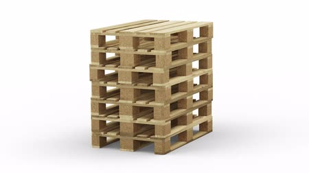 Wood Pallets Straight Stacked in infinite rotation