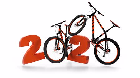 хром : Mountain Bike 2020 design with wheels in infinite rotation Стоковые видеозаписи
