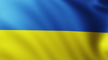 crumpled : Large Ukrainian flag background fluttering in the wind Stock Footage