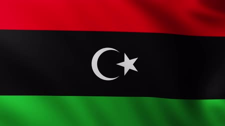 creased : Large Libyan Flag background fluttering in the wind