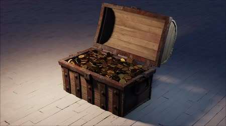 korsan : Chest of old Wood and rusty metal full of Gold Coins put on an old floor which opening