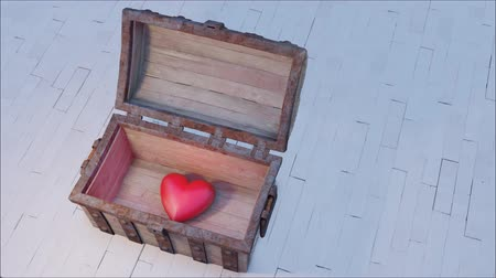 korsan : Chest of old Wood and rusty metal put on an old floor which opening on a large chubby red heart
