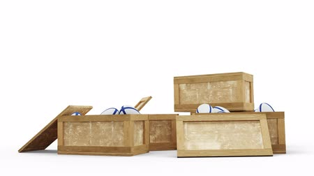 stacks : Camera move and zoom above three opened wood transport box full with Rugby balls on a white background Stock Footage