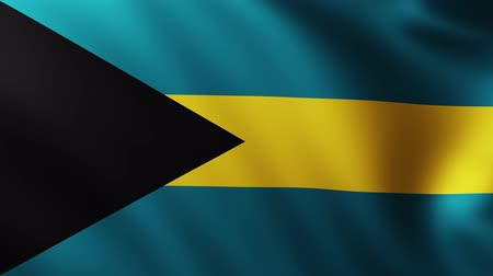 creased : Large Flag of Bahamas background fluttering in the wind with wave patterns