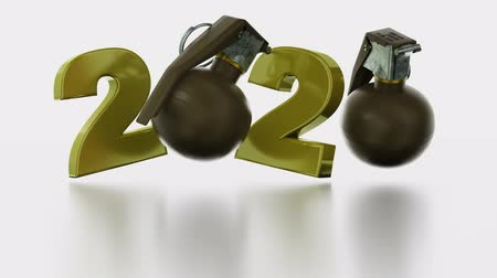 grenade : Military Hand Grenade 2020 numbers in Infinite Rotation on a White Background Stock Footage