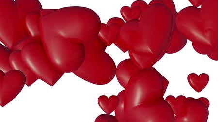 змеевик : Several Large and Cute Red Hearts which getting bigger in rotation and disappear with a white background