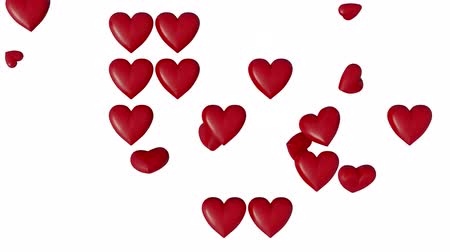 sparire : Some Large and Cute Red Hearts which popping up in rotation and disappear with a white background