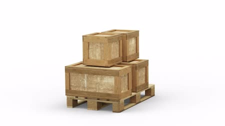 отправка : Turning around a Wood Pallet partially loaded with different size of Transport Box on a White Background