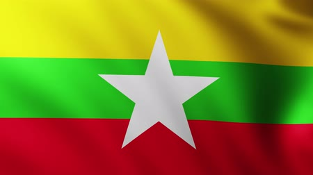 mianmar : Large Flag of Myanmar background fluttering in the wind