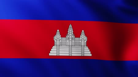 Ангкор : Large Cambodian Flag background fluttering in the wind