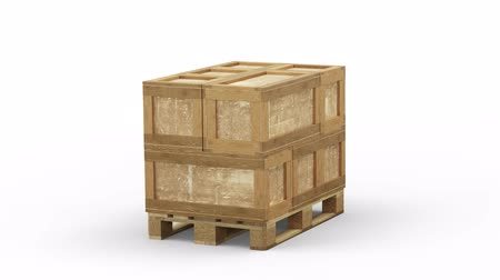 отправка : Turning around a Wood Pallet loaded with different size of Transport Box Стоковые видеозаписи