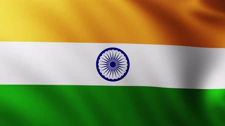 creased : Large Flag of India fullscreen background fluttering in the wind with wave patterns