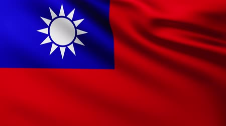 marş : Large Flag of Taiwan fullscreen background fluttering in the wind with wave patterns