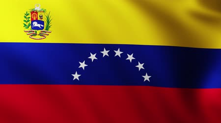 折り目 : Large Flag of Venezuela background fluttering in the wind with wave patterns