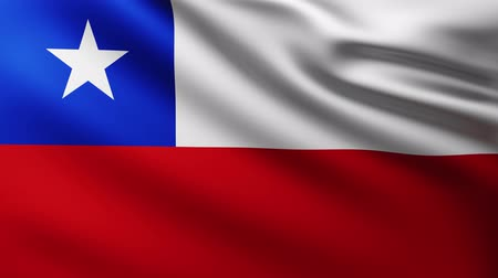 creased : Large Chilean Flag fullscreen background fluttering in the wind