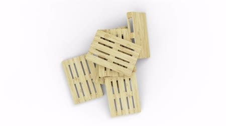 отправка : Top view and turning around of wood pallets put in chaos