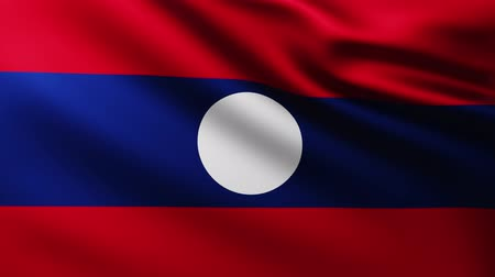 marş : Large Flag of Laos fullscreen background fluttering in the wind with wave patterns Stok Video