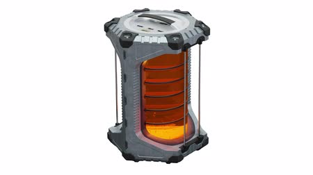 Close-up of One SciFi Hexagonal Battery in infinite rotation with a glowing translucent orange cylinder on a white background
