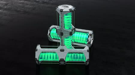 разъем : 3 SciFi Hexagonal Power Tank including a green transculent cylinder put on a dark floor in infinite loop