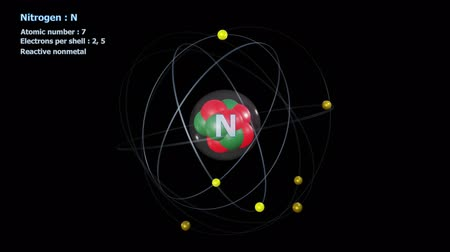 Atom of Nitrogen with 7 Electrons in infinite orbital rotation with a black background