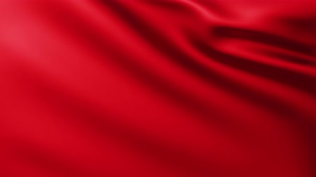 Large Red Flag fullscreen background fluttering in the wind with wave patterns Wideo
