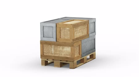 отправка : Loop Turning around a Pallet loaded with 3 metal and 3 wood transportation Boxes on a White Background