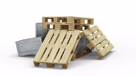stacks : Loop Turning around Transportation Metallic and Wood Boxes and Pallets put in Chaos Stock Footage