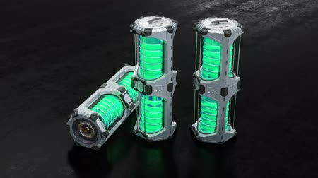 rakomány : Slow move around 3 SciFi Hexagonal Power Tank with glowing green cylinders