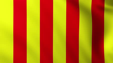 Large Yellow and Red Stripes Flag fullscreen background fluttering in the wind