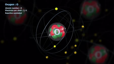 elétron : Atom of Oxygen with 8 Electrons in infinite orbital rotation with atoms