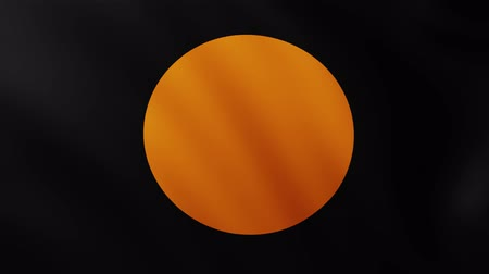 crumpled : Large Black with Orange circle Flag fullscreen background fluttering in the wind