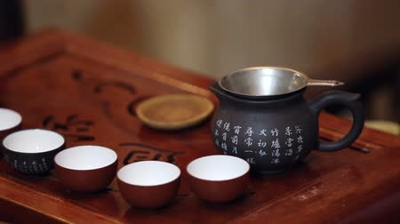 Японская культура : Traditional chinese tea ceremony Стоковые видеозаписи