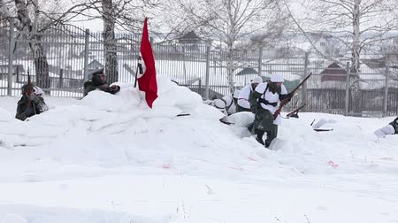 majorság : ULYANOVSK, RUSSIA - FEB 22. German nazi Flag. The Historical military club demonstrates historical reconstruction of combat between Soviet and German armies during W W2 on Feb 22, 2016 in Ulyanovsk