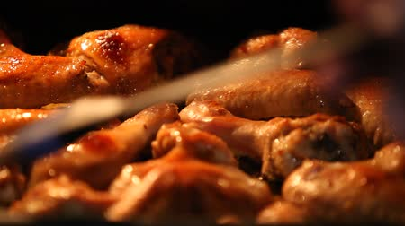 gourmet : pieces of fried chicken in the oven