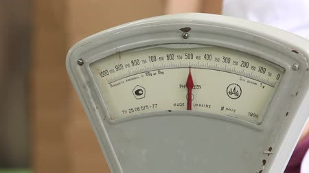 com escamas : Vintage old weight scale.
