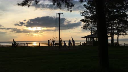 dividir : Children at sunset ride on a swing