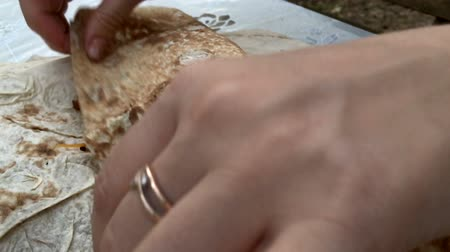 chawarma : cooking Shawarma in slow motion Stock Footage