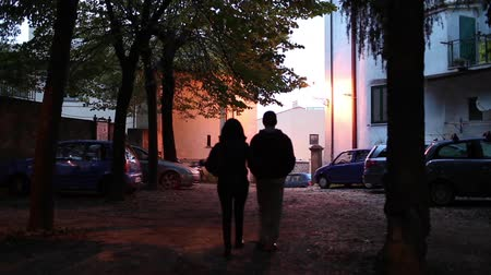 relação : Video clip of man and woman walking on the street  in the evening, shoulder to shoulder. Stock Footage