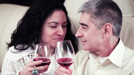 zakochani : Video of a happy mature couple talking closely and toasting with glasses of red wine. Wideo