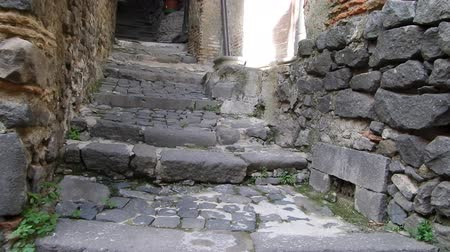 parke taşı : Very narrow alley between medieval buildings, Bracciano, Lazio, Italy. Stok Video