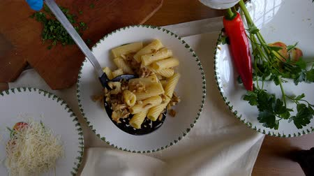 istiridye : Pasta prepared with golden oyster mushrooms, above view shot.